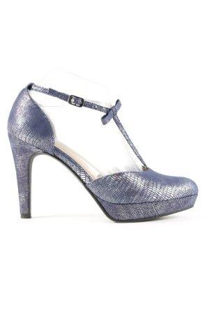 Tamaris T-Steg-Pumps blau-silberfarben Allover-Druck Business-Look