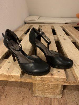 Tamaris T-Strap Pumps black leather