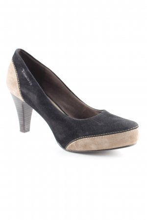 Tamaris T-Steg-Pumps schwarz-hellbraun Business-Look
