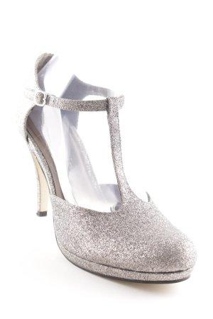 Tamaris Zapatos de tacón con barra en T color plata-taupe elegante