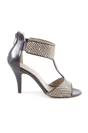 Tamaris Sandalias de tacón con barra en T negro-beige claro estampado de zigzag