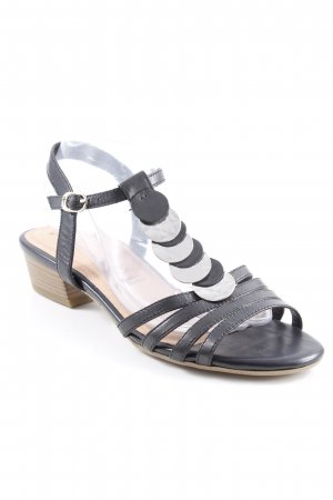 Tamaris T-Strap Sandals black-silver-colored elegant