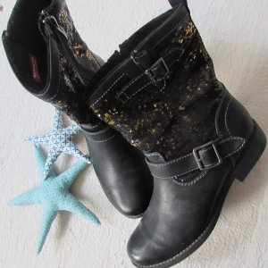 Tamaris * Traum Winter Lederoptik Stiefel * schwarz Paillettenschaft * 41 NEUw