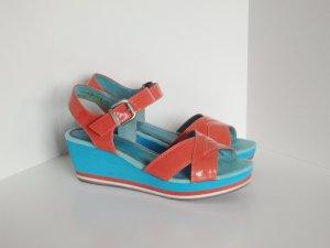 *Tamaris*Trend* Sandale Sandalette Keilabsatz Coral Blau Bunt Gr.39