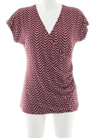 Tamaris V-Ausschnitt-Shirt rot-weiß Allover-Druck Business-Look