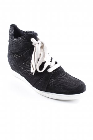 Tamaris Wedge Sneaker schwarz-wollweiß Animalmuster Casual-Look