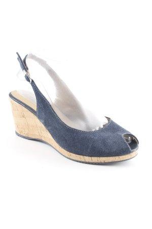 Tamaris Wedge Sandals dark blue-light brown simple style