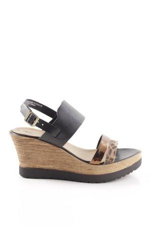 Tamaris Wedge Sandals black-brown leopard pattern casual look