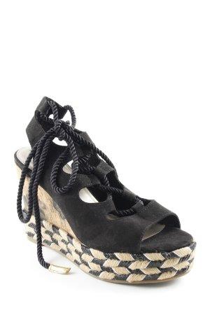 Tamaris Wedges Sandaletten schwarz-beige abstraktes Muster Beach-Look