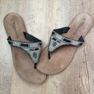 Tamaris High-Heeled Toe-Post Sandals multicolored leather