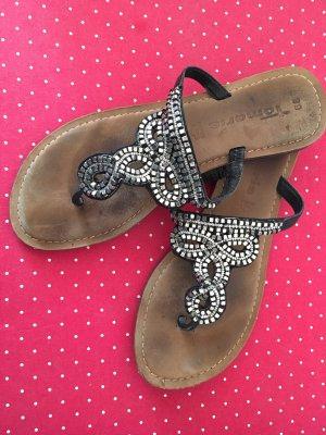 Tamaris Flip-Flop Sandals black-silver-colored