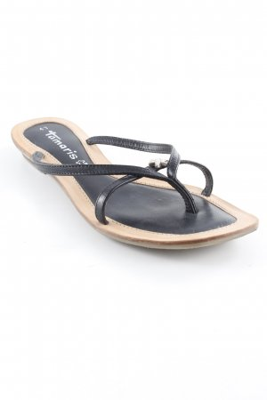 Tamaris Zehentrenner-Sandalen schwarz-hellbraun schlichter Stil