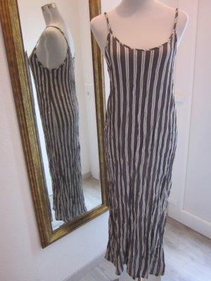 Tandem Maxi Kleid gestreift pagettiträger dunkelbraun weiss Gr 36