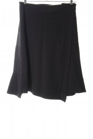 Tandem Wraparound Skirt black striped pattern business style