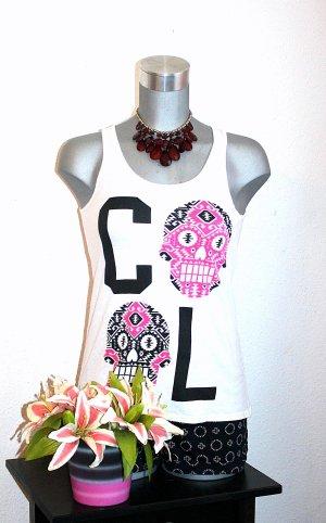 Tank Top Pimkie Cool Skull Pink Schwarz Weiß