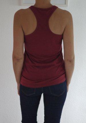 Tank-Top von Frilufts, Sport-Shirt, Gr.S, bordeaux-rot mit feinen Streifen