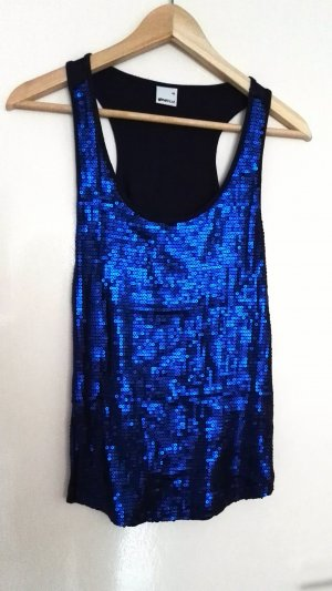 Tank Top wie NEU Blau Pailletten Party Gina Tricot XS/S