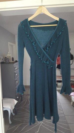 Tannenfarbenes Wollkleid aus Mohairwolle in XS