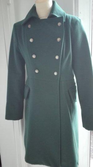 Tannengrüner Military Mantel mit Wollanteil