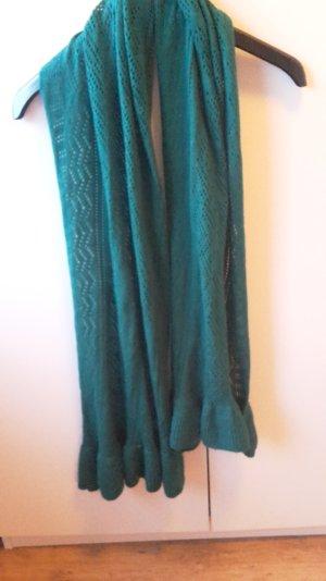 Tannengrüner,warmer,kuscheliger Schal mit süßem Strickmuster