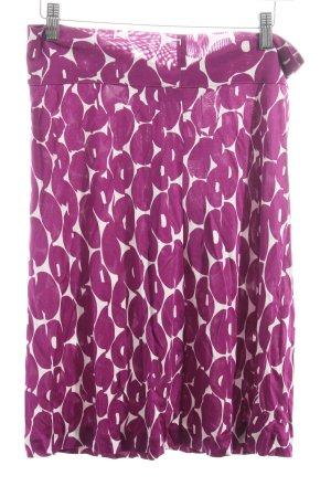 Tara jarmon High Waist Rock lila-weiß abstraktes Muster extravaganter Stil