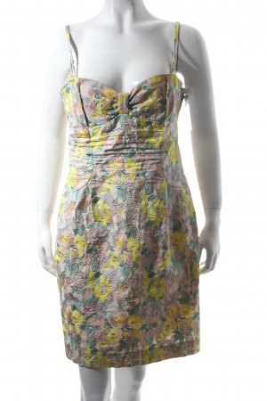 Tara jarmon Kleid blassgelb-grasgrün florales Muster Beach-Look