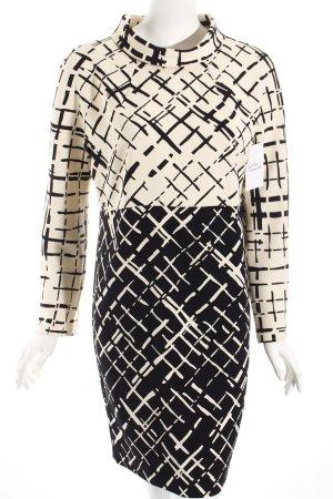 Tara jarmon Langarmkleid wollweiß-schwarz grafisches Muster extravaganter Stil