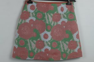 Tara Jarmon Rock Minirock Gr. frz 38/ dt 36 grün apricot Blumen