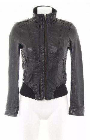 Zara Basic Leather Jacket black