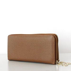 TARA Wallet Clutch Saffiano Cognac Beige Geldbörse Portemonnaie