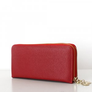 TARA Wallet Clutch Saffiano Optik Lederimitat Rot 2 Reißverschlüsse Geldbörse