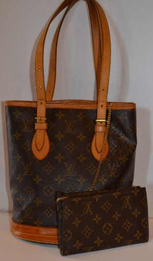 TASCHE 100% LOUIS VUITTON BROWN CLASSIC PETIT BUCKET & PURSE NEUWERTIG