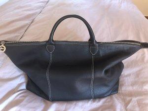 Longchamp Weekendtas zwart-karmijn Leer