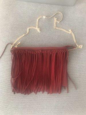 H&M Borsa con frange carminio-rosso scuro