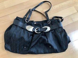 Tasche, AIGNER, schwarz, Textil mit Leder