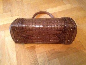 Tasche aus echtem Krokoleder cognacbraun
