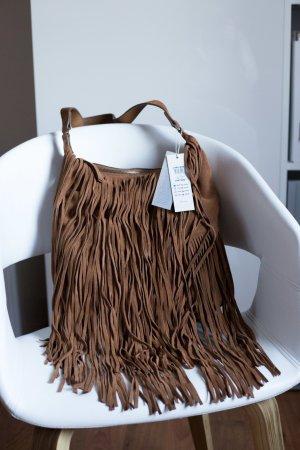 Tasche aus Leder mit Fransen NEU von Pieces