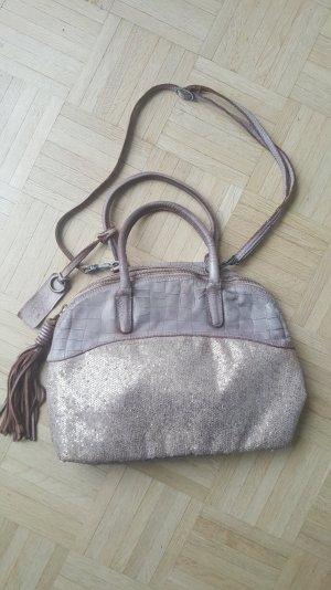 Tasche aus Leder mit Pailletten