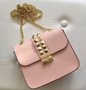Tasche Bag Clutch Rosa Nude Gold Nieten Valentino Style