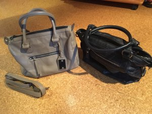 Tasche beige/blau