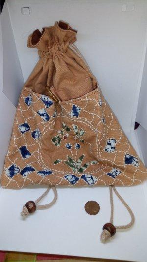 Tasche Beutel Ethno-Stil Japanisch Braun Geblümt