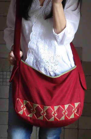 Tasche, Beutelatsche, handgefertigt in Ägypten, Ethno, Stickerei, kaminrot