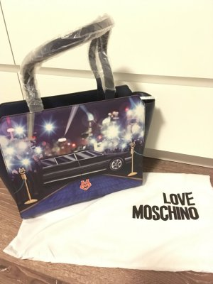 Tasche blau Print Love moschino bunt neu Blogger shopper Handtasche