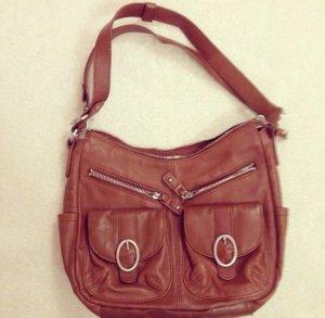 Tasche, braun, silber, mittelgroß