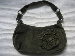H&M Carry Bag dark green suede
