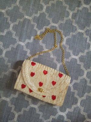 Tasche Clutch Handtasche Herz Rot Beige Bast Gold