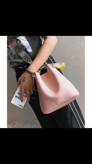 Tasche Creme rosa Neu schlangenmuster gelb Beutel