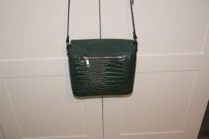 Tasche dunkelgrün mit Reptilprint Kroko