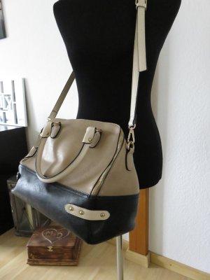 Crossbody bag black-beige polyurethane