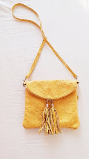 Tasche Gelb Leder Fransen Hippie Boho Ethno